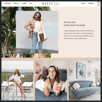 Screenshot of Kelly Saks website