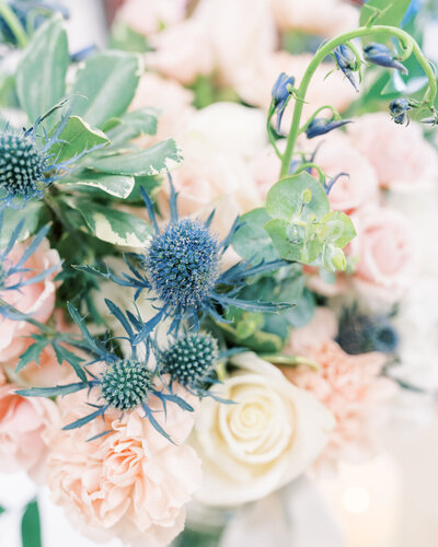 Beautiful blue and pink wedding bouquet for a classic southern wedding - photo by Corey Johnson Studios Western NC Wedding Photographer