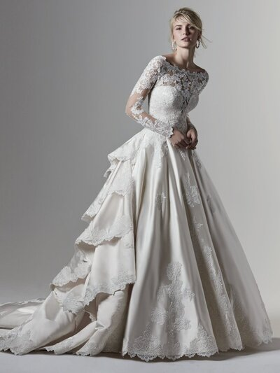 Satin Ball Gown Wedding Dress Favorite You want drama. You want couture styling. You want something unabashedly feminine and chic. A satin ball gown wedding dress is just the ticket.