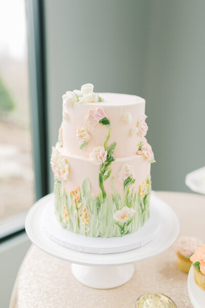 pink and green floral cake by Ryke's Bakery at Venue3Two wedding, photo by Grand Rapids wedding photographer Cynthia Boyle