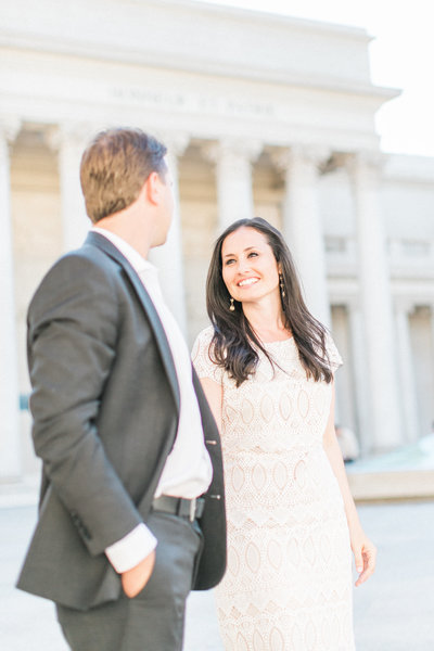 Engagement photos of stylish couple at San Francisco Legion of Honor, California fine art wedding photographers, shot in film by Evonne and Darren