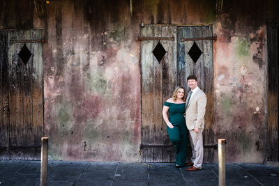 Beautiful engagement Photography: Couple in front of Preservation Hall in New Orleans, New Orleans Portrait Photographer