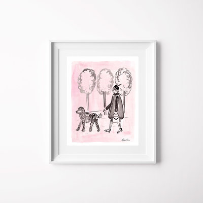 pink black watercolor girl poodle art print mockup