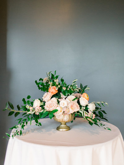 Blush and Peach Wedding Flower Arrangement