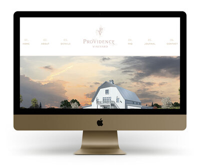 Custom Showit Website Design Mock Up for Providence Vineyard, an Illinois wedding venue