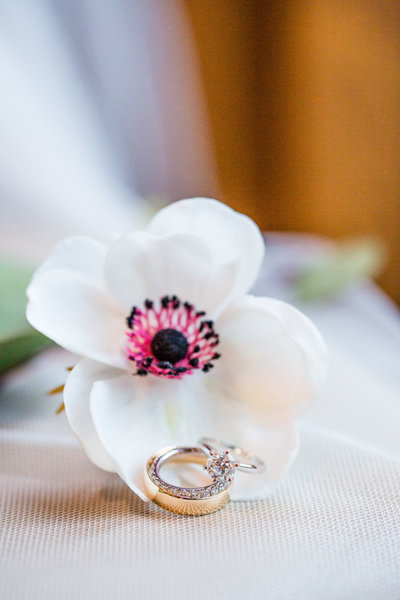 A beautiful flower with wedding rings on it