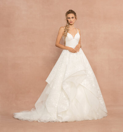 Hayley Paige bridal gown - Ivory eyelet organza two-piece ball gown, scalloped sweetheart neckline, cascading eyelet and organza skirt with horsehair trim, detachable tulle underlay.