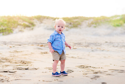 kid on the beach in nags head, nc