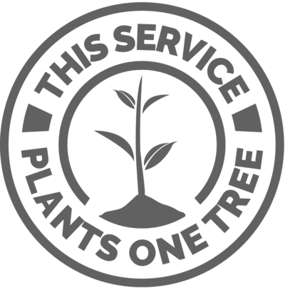 One tree planted logo demonstrating this business plants a tree for every service booked.