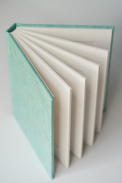5x7 RedTree Matted Album in Seaglass Coastal Linen opened to show folio pages