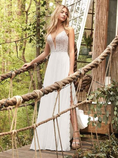 Sheath Wedding Dress. Planning a relaxed and rustic-chic celebration? Get inspired by this flirty sheath wedding dress featuring lovely lace, dreamy chiffon, and a hint of sexy.