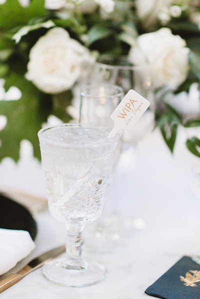 a clear crystal goblet of water with a custom logo stir stick
