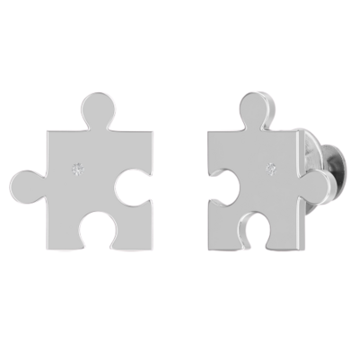 10K white gold single diamond autism puzzle piece lapel pin