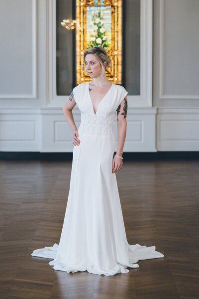 Model wearing Anila crepe wedding gown from the 2018 Edith Elan bridal collection