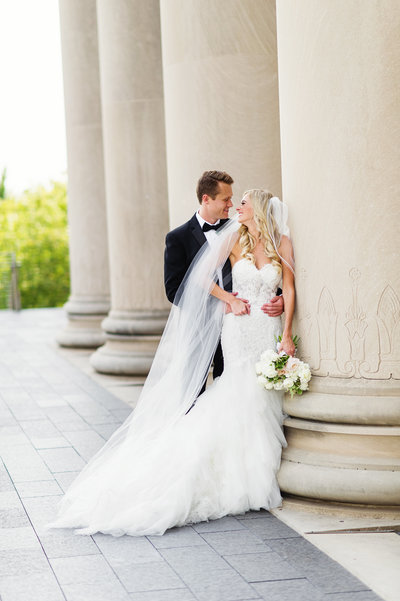 Bride and Groom at The Nelson Atkins Museum of Art