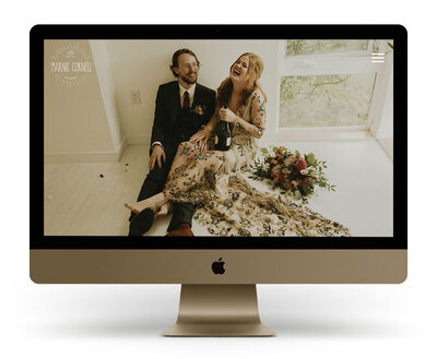 Showit Website Design Mock Up for Marnie Cornell Photography, a Seattle wedding photographer