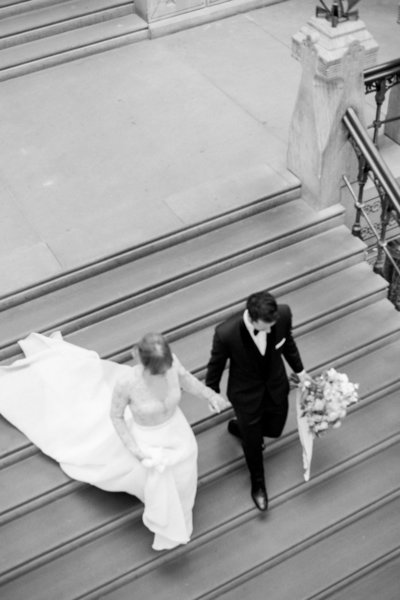Fine art refined and sophisticated wedding with Kelly Faetanini wedding gown and black tie at Pennsylvania Academy of the Fine Arts in Philadelphia by Liz Andolina Photography