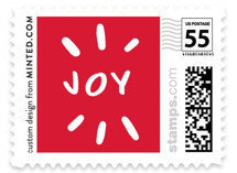 red joy Christmas postage stamp