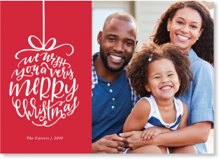 red ornament Christmas photo card