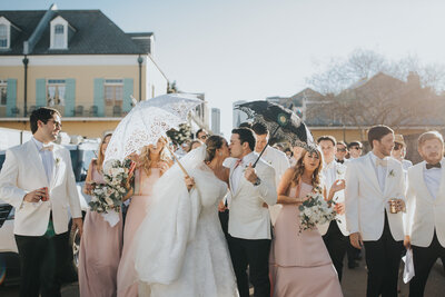Bride and Groom Second line Kiss