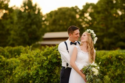 Bride and Groom with flower crown at Creekside Plantation