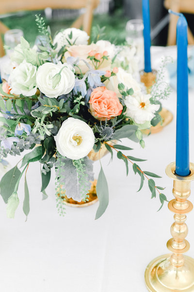 wedding florals during romantic hudson valley wedding