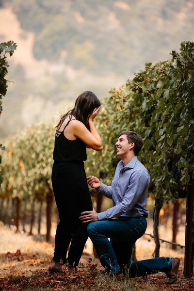napa valley, engagement ring, diamond ring, oval diamond, custom engagement ring, three stone ring, vineyard proposal, winery engagement, hess winery, half moon diamonds