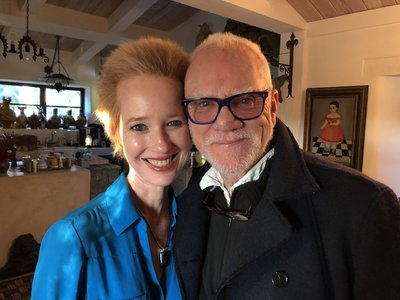Kate with Malcolm McDowell 2019