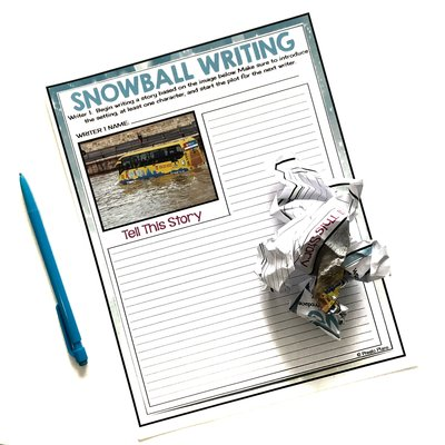 Snowball collaborative writing activity where students work together to write a narrative story.