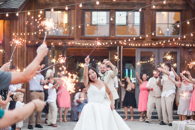 Wedding party and guest enjoying a sparkler dance.