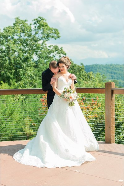 Bride and Groom embracing at Knoxville Wedding