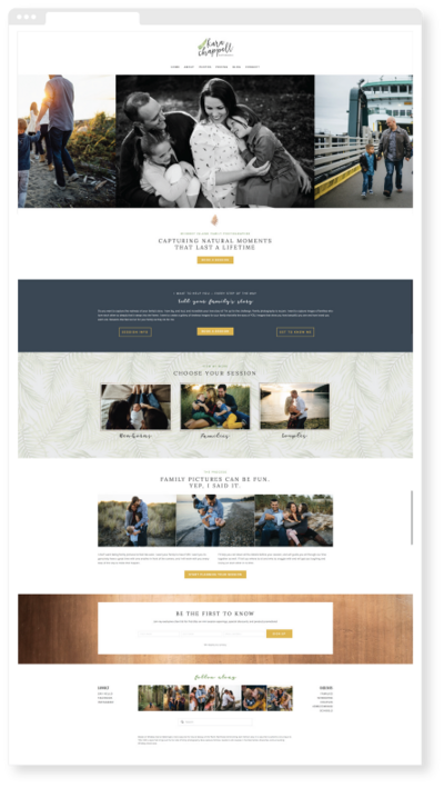 Brand identity, custom Squarespace website and marketing collateral design for Whidbey Island family photographer | Foothold Creative www.footholdcreative.co