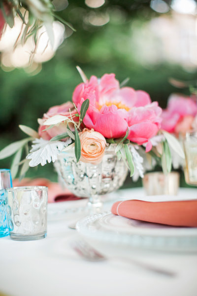 Wedding centerpiece with peonies