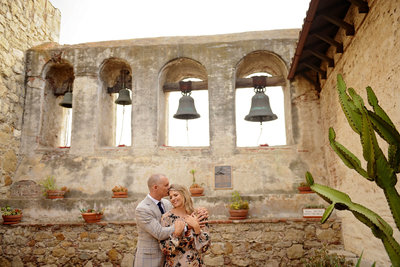 Stylish couple engagement session at  Mission San Juan Capistrano