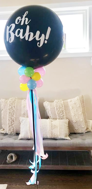 Upscale Birthday party designed with Balloons. Gold Silver and White color palette