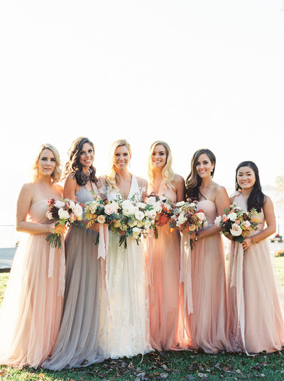 Bridesmaids & Bouquets at Luxury Flathead Lake Lodge Wedding in Montana