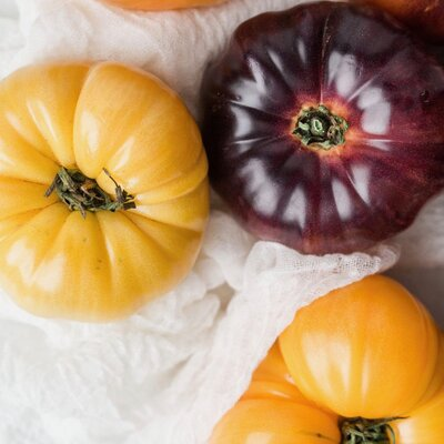 Yellow and purple tomatoes