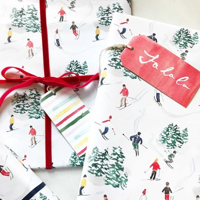 christmas gifts wrapped skiers gift wrap the illustrated life
