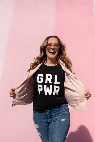 Ivy Towler Girl Power Shirt Pink Background Photographer