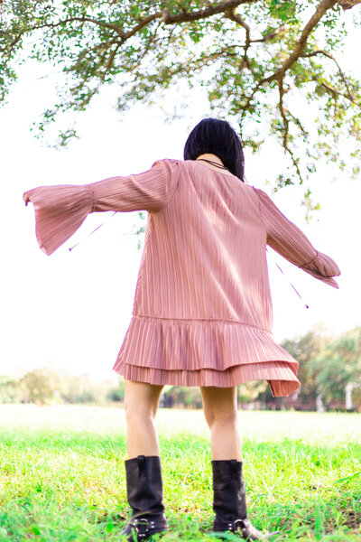 RSZD Pleated Dress Twirling