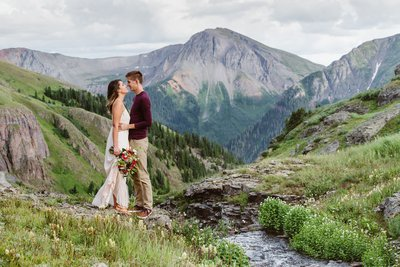 Silverton colorado mountain waterfall elopement offroad