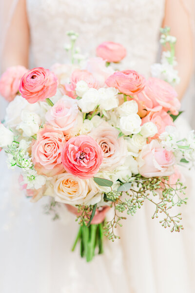 Photo of a pink bouquet at a wedding in Atlanta Georgia at the Wimbish House by Jennifer Marie Studios.