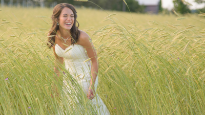 Bride in golden field
