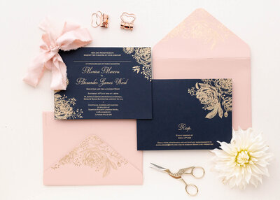 Luxury blue and gold invitation suite