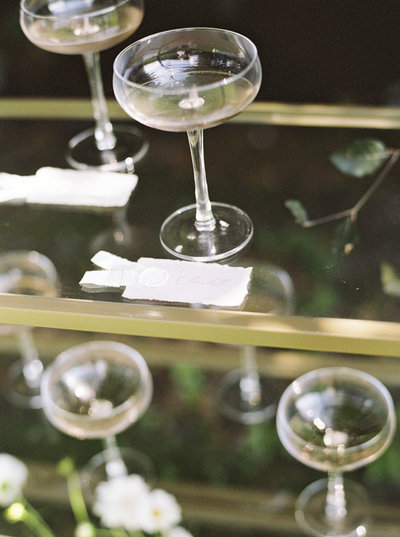 Gold Shelf with Champagne – Boston Wedding Details