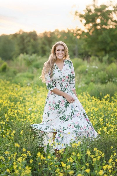 Laura Luft High School Senior Photography Elba NY  Central Girl Sunflower Kitten Hat Flower Dress White Top Tall Grass Session-09