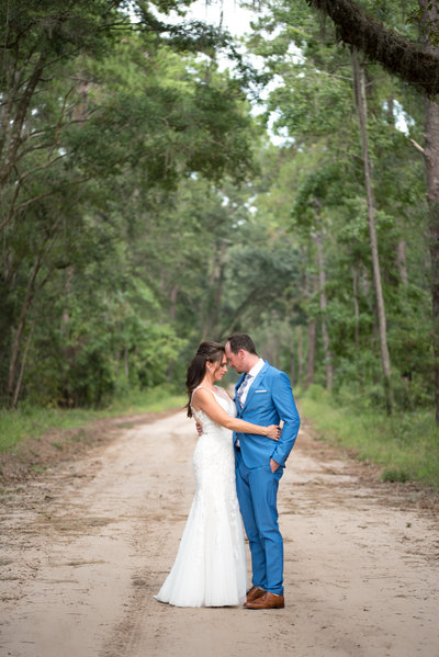 Remote Daufuskie Island wedding bride and groom portrait