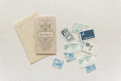 Flatlay Image of Vintage Stamps by Amanda Adams Photography