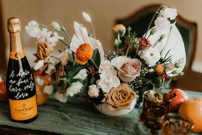 Floral Centerpiece - Orange Toffee Blush Wedding - Juan and Angie Photography - Pine for Cedar - Calgary Wedding Florist