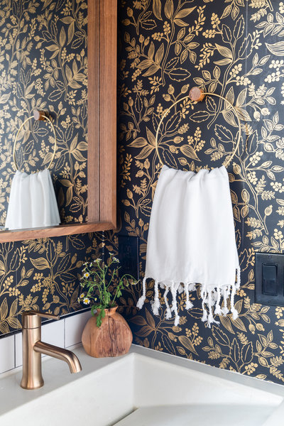 Fun modern powder room design with Rifle Paper Co. wallpaper by Denver based interior designer Fernway & Avalon